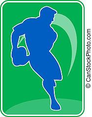 joueur rugby, courant, dépassement, balle