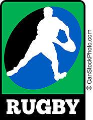joueur rugby, courant, dépassement, course, balle