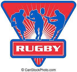joueur rugby, courant, dépassement, défendre