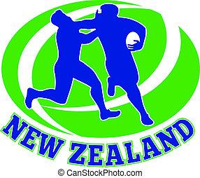 joueur rugby, course, défendre loin, affronter, aborder
