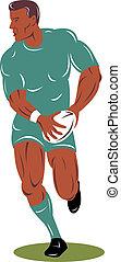 joueur rugby, course, haut, devant