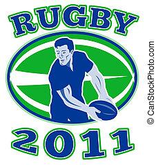 joueur rugby, dépassement, balle, 2011