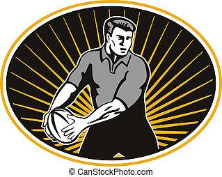joueur rugby, dépassement, balle, bouclier