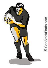 joueur rugby, dépassement, balle
