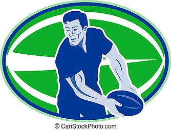 joueur rugby, dépassement, balle, devant