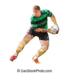 joueur rugby, dépassement, balle, polygonal, vecteur, silhouette