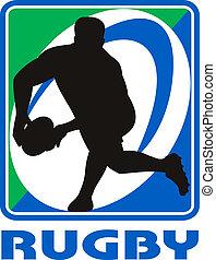 joueur rugby, dépassement, balle, revêtement, devant, dans,...