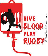 joueur rugby, dépassement, balle, revêtement, devant