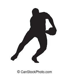 joueur rugby, dépassement, balle, vecteur, isolé, silhouette