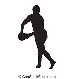 joueur rugby, dépassement, balle, vecteur, silhouette