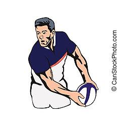 joueur rugby, dépassement, les, balle