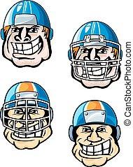 joueur rugby, dans, casque, dessin animé, caractères