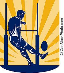 joueur rugby, donner coup pied, à, poteau but