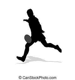 joueur rugby, donner coup pied, ball., isolé, vecteur, silhouette., sport équipe