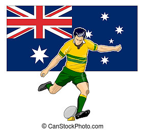 joueur rugby, donner coup pied, balle, australie