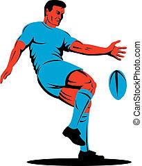 joueur rugby, donner coup pied, balle, côté