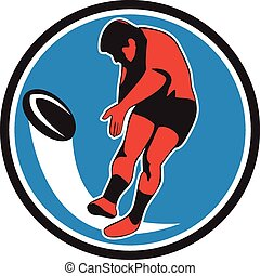 joueur rugby, donner coup pied, balle, cercle, retro