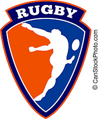 joueur rugby, donner coup pied, balle
