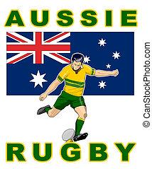 joueur rugby, donner coup pied, balle, drapeau australie