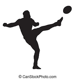 joueur rugby, donner coup pied, balle, isolé, vecteur, silhouette