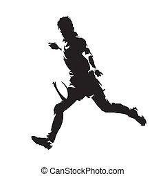 joueur rugby, donner coup pied, balle, isolé, vecteur, silhouette., vue côté