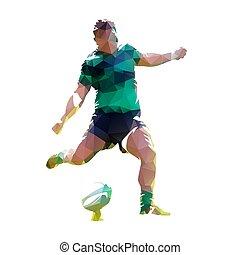 joueur rugby, donner coup pied, balle, polygonal, vecteur, illustration