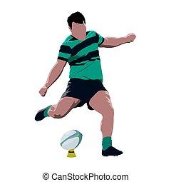 joueur rugby, donner coup pied, balle, résumé, vecteur, isolé, illustration