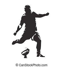 joueur rugby, donner coup pied, balle, résumé, vecteur, silhouette