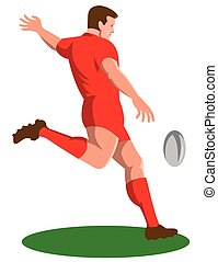 joueur rugby, donner coup pied, balle, retro
