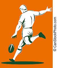 joueur rugby, donner coup pied balle, vue postérieure