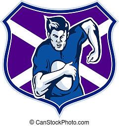 joueur rugby, drapeau, bouclier, de, ecosse