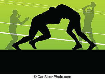 joueur rugby, homme, silhouette, vecteur, fond, concept