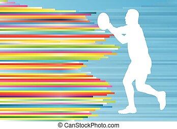 joueur rugby, silhouette, résumé, vecteur, fond