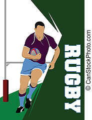 joueur rugby, silhouette., vecteur, malade