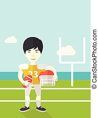 joueur rugby, sur, stadium.