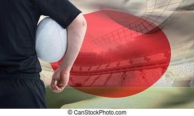 joueur rugby, tenir boule, contre, drapeau japonais