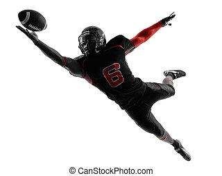joueur, silhouette, boule contagieuse, football, américain