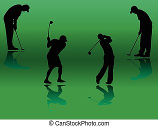joueur, silhouette, collection, golf