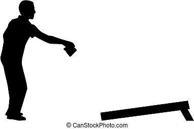 joueur, silhouette, cornhole