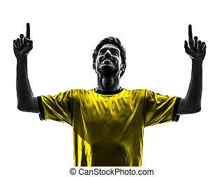 joueur, silhouette, fond, football, bonheur, homme, blanc, football, pointage, studio, joie, brésilien, une, haut, jeune
