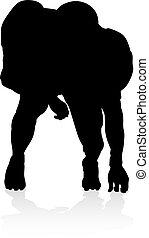 joueur, silhouette, football américain
