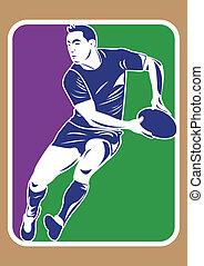 joueur, silhouette, rugby
