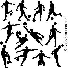 joueur, silhouettes, football