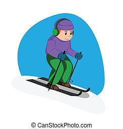 joueur, ski