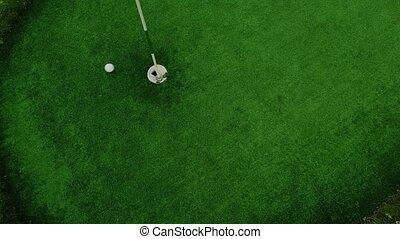joueur, sommet, balle, frapper, golf, succès, vue