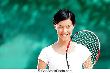 joueur, sourire, tennis, femme, portrait