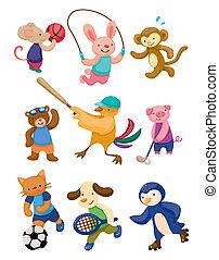joueur, sport, dessin animé, animal