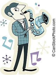 joueur, style, saxo, retro, dessin animé