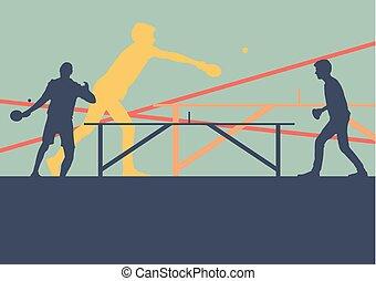 joueur, table, résumé, vecteur, tennis