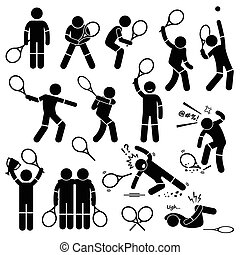joueur, tennis, actions